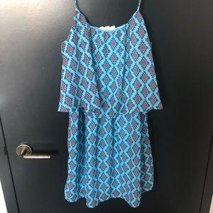 Boutique Blue Pattern Shift Dress
